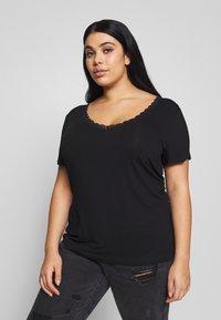 Anna Field Curvy - BASIC T-SHIRT - Print T-shirt - black - 0