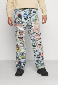 Jaded London - RIPPED GRAFFITI SKATE  - Relaxed fit jeans - blue - 2