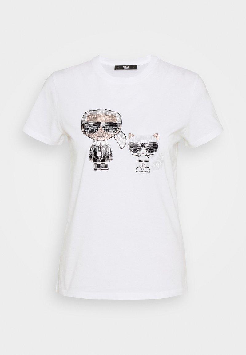 KARL LAGERFELD - IKONIK RHINESTONE - Print T-shirt - white