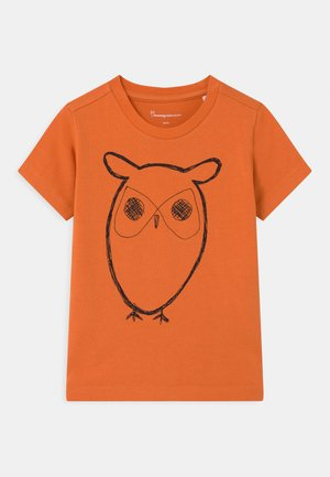 FLAX OWL - T-shirt z nadrukiem - orange/black