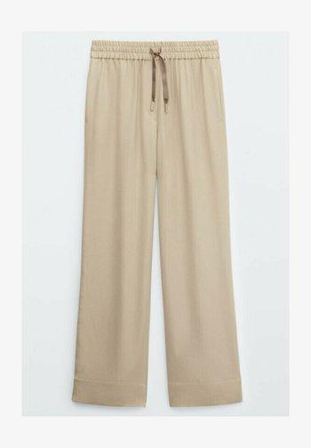 FLIESSENDE MIT STRETCHBUND - Pantalon classique - beige