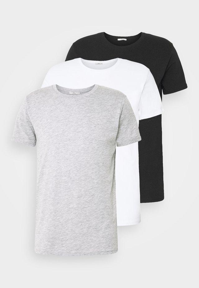 3 PACK - Basic T-shirt - black/grey melange/white