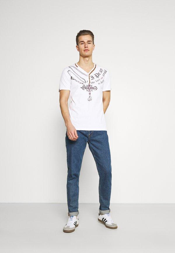 Key Largo LEGACY BUTTON - T-shirt z nadrukiem - white/biały Odzież Męska VXWG