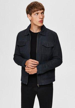 WILDLEDER - Leather jacket - blue graphite