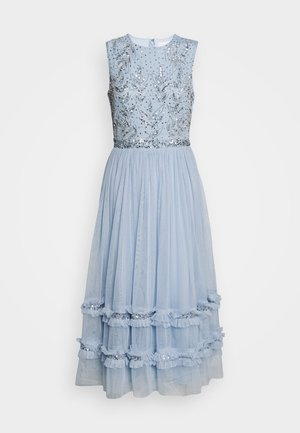 SLEEVELESS MIDI DRESS WITH RUFFLE DETAIL SKIRT - Cocktailjurk - pearl blue