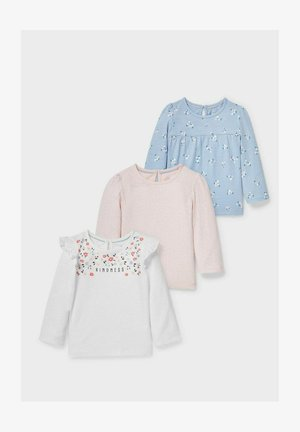 PACK OF 3 - Long sleeved top - white / rose