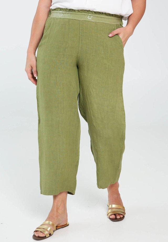 Kangashousut - olive green