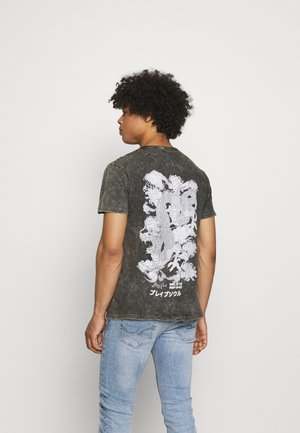 Print T-shirt - olive acid wash