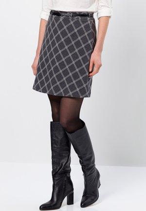 MIT WINDOW CHECKS - A-line skirt - anthracite-m