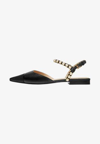 MIT KUNSTPERLEN  - Slingback ballet pumps - black