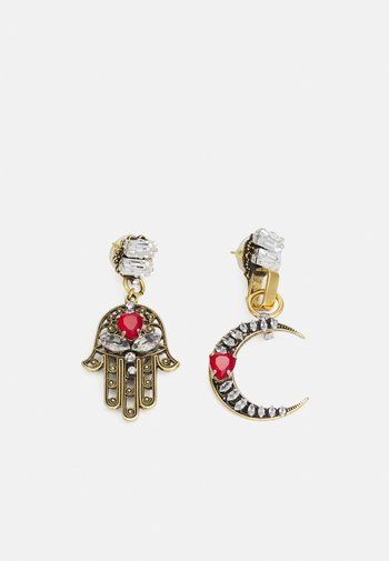 Earrings - gold-coloured/red