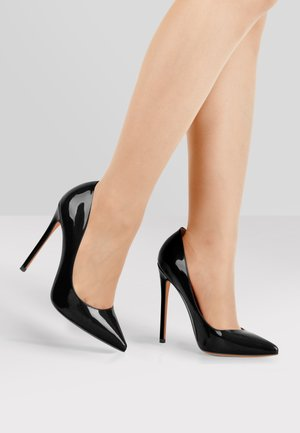 High heels - metallic black