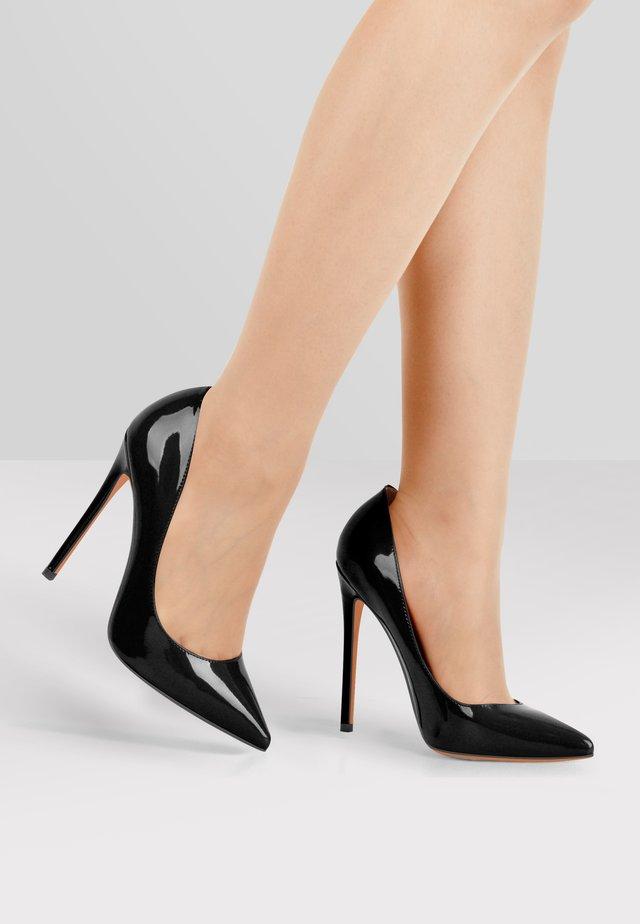 High heels - metallic black