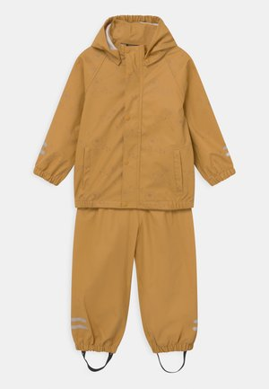 NMFDRY FLOWER RAIN SET - Waterproof jacket - amber gold