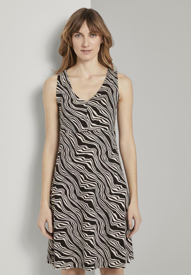 TOM TAILOR - Jersey dress - black wavy design