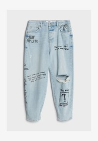 Bershka - MIT GRAFFITI  - Jeansy Relaxed Fit - blue denim - 4