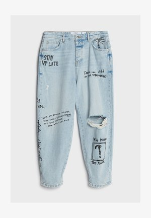 MIT GRAFFITI  - Jeans baggy - blue denim