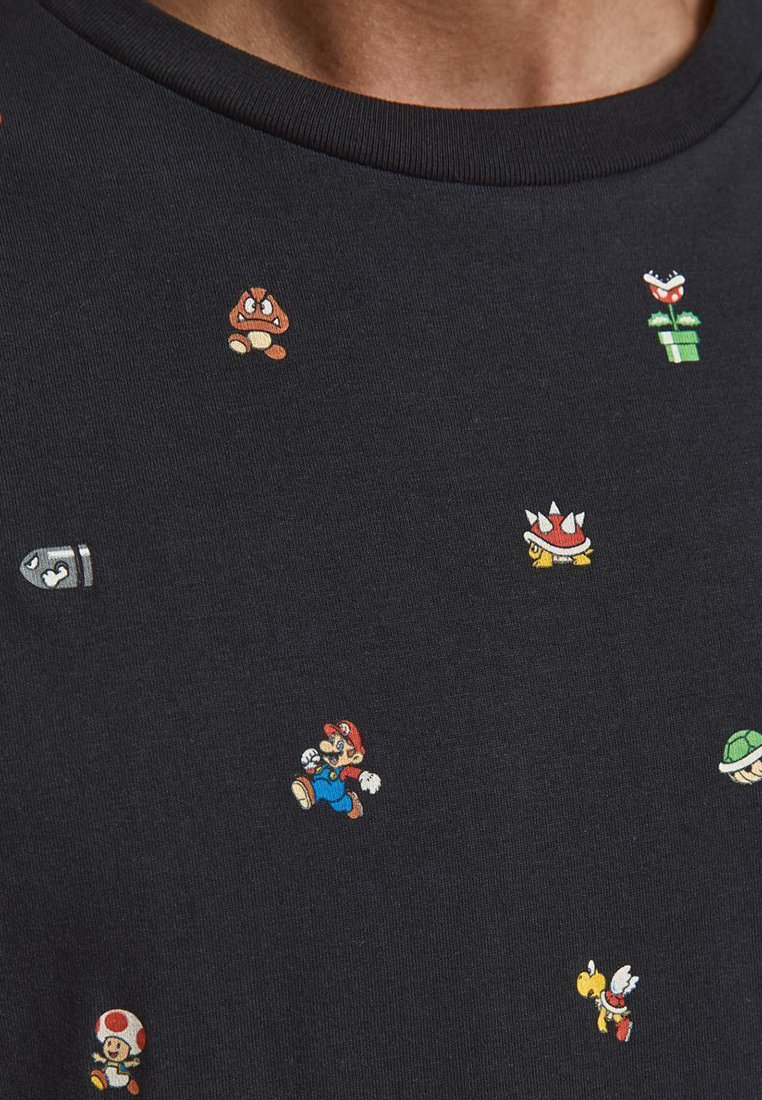 Jack & Jones SUPER MARIO - T-Shirt print - black/schwarz lmei8O