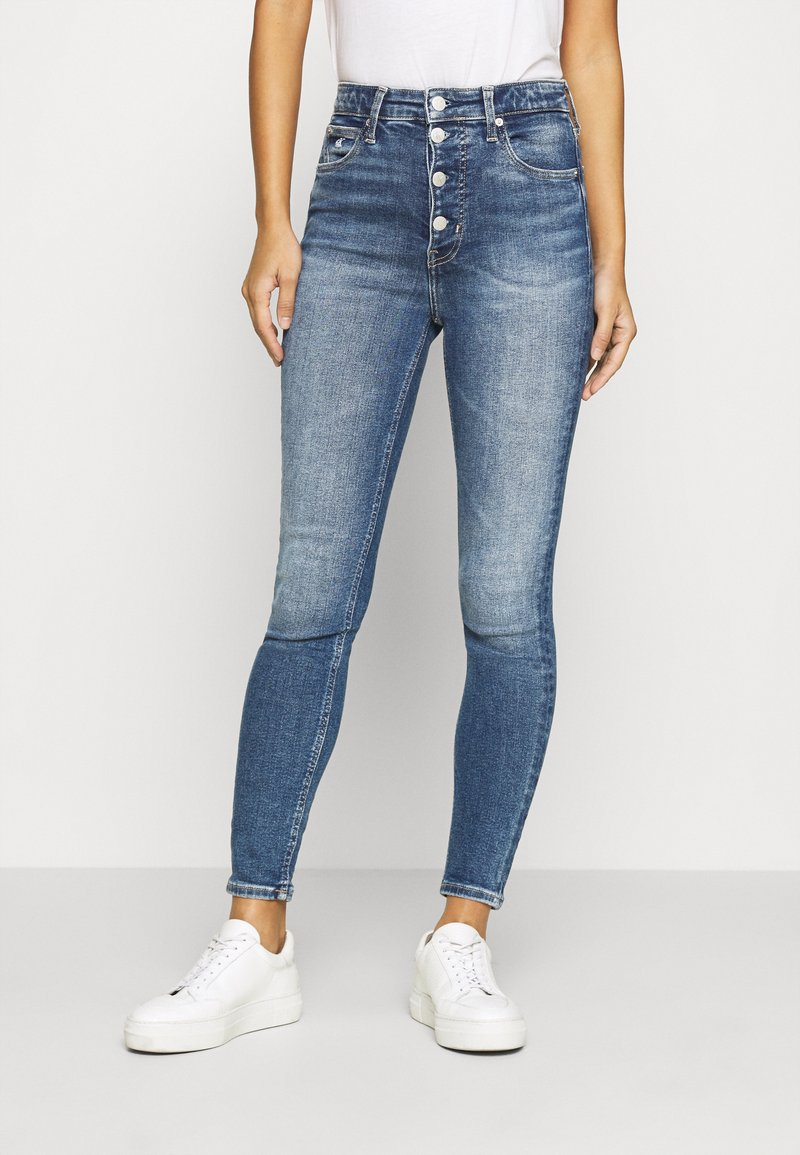Calvin Klein Jeans - HIGH RISE SUPER SKINNY ANKLE - Jeansy Skinny Fit - mid blue shank