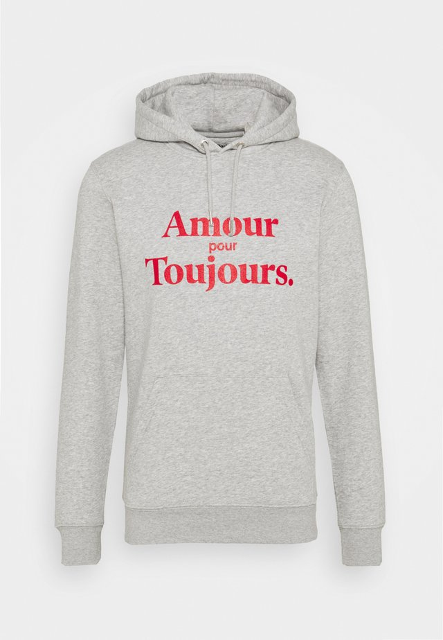 HOODIE AMOUR POUR TOUJOURS - Felpa con cappuccio - grey/red