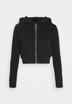 CROPPED SWEAT JACKET  - Felpa aperta - black