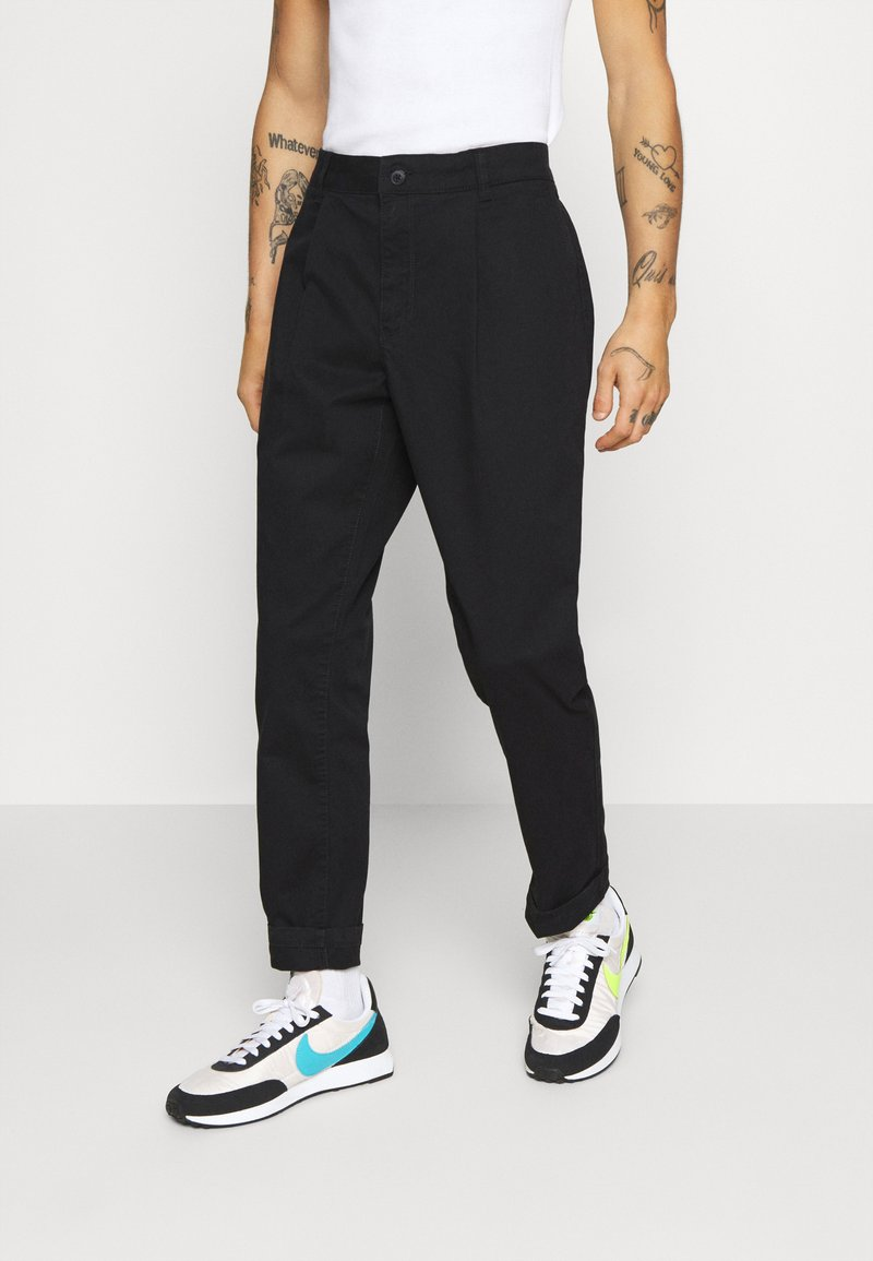 Topman - BLACK PLEAT - Trousers - black