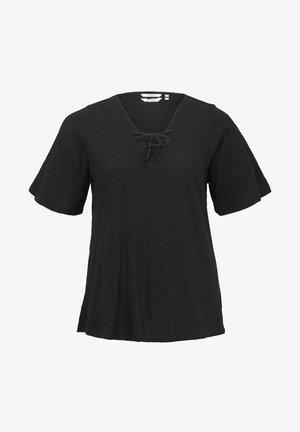 MIT SCHNÜRUNG AM AUSSCHNITT - Print T-shirt - deep black