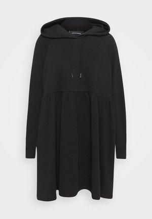 MALIN HOODIE DRESS - Korte jurk - black dark unique