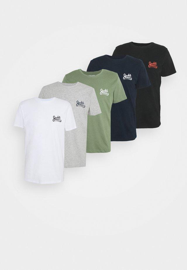 JORSIGNATURE TEE CREW NECK 5 PACK - T-shirt print - white
