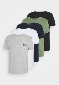 Jack & Jones - JORSIGNATURE TEE CREW NECK 5 PACK - T-shirt med print - white - 8