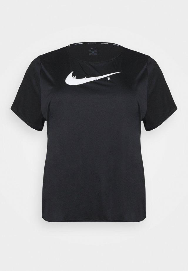 RUN PLUS - Print T-shirt - black/silver