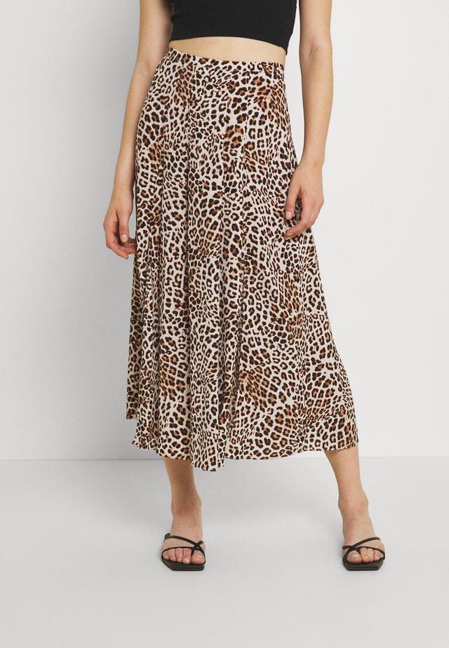SOPHIE DOUBLE SPLIT SKIRT - Áčková sukně - caramel leopard