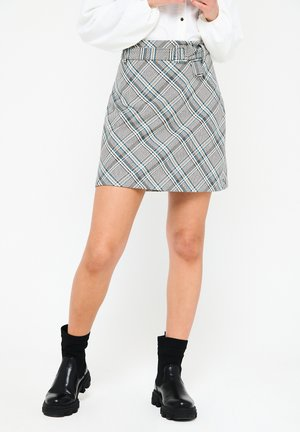 CHECKERED  - A-line skirt - blue