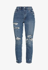 Abercrombie & Fitch - DARK PIN STRIPE MOM - Relaxed fit jeans - med/dark dest - 5