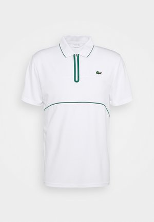 TENNIS ZIP - Sports shirt - white/bottle green