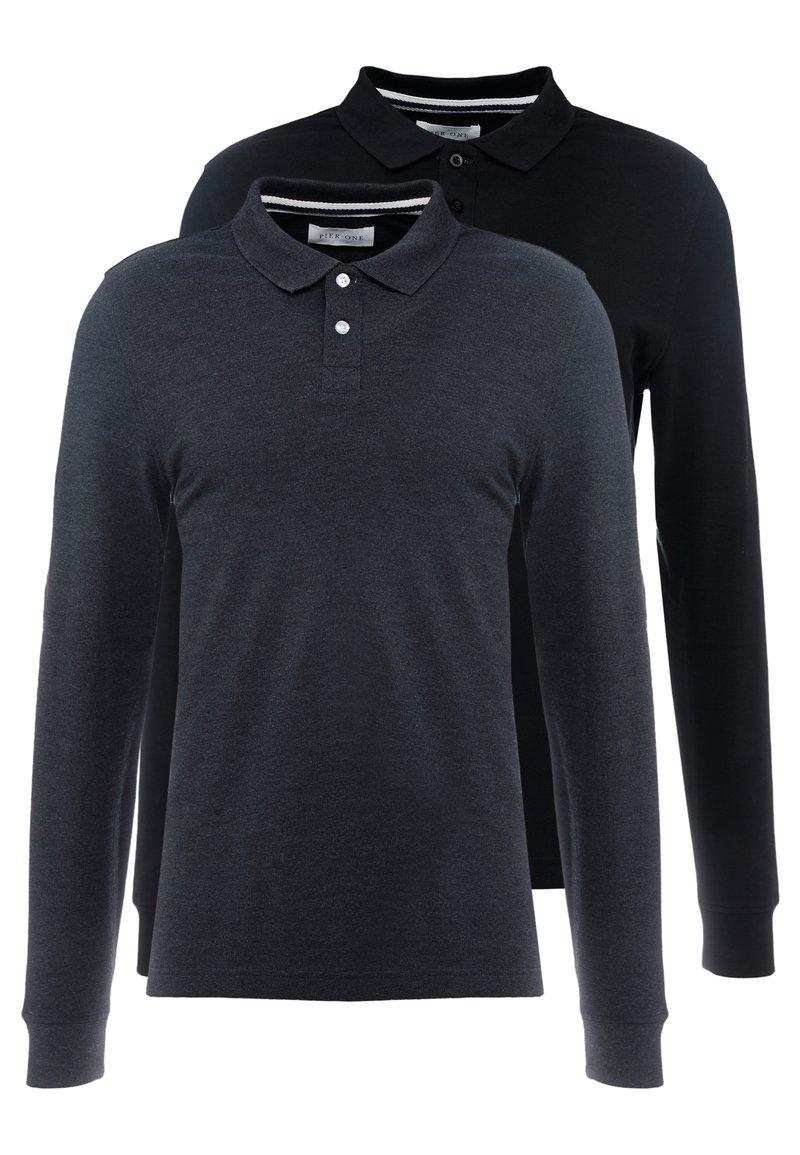 Pier One - 2 PACK - Polo shirt - mottled grey/black