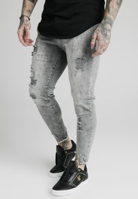 SIKSILK - RAW CUFF CROPPED SKINNY JEANS - Skinny džíny - washed grey - 0