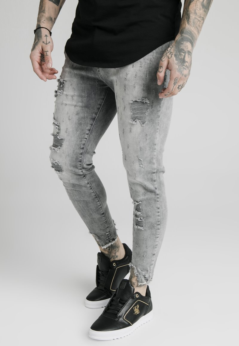 SIKSILK - RAW CUFF CROPPED SKINNY JEANS - Skinny džíny - washed grey