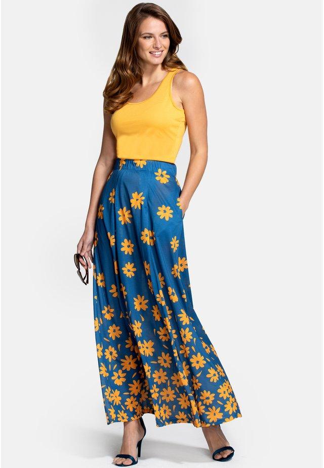 BOX - Áčková sukně - daisy placement blue yellow