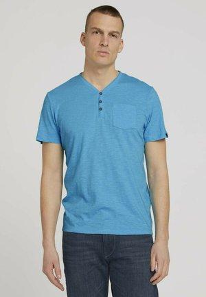 HENLEY  - Basic T-shirt - aqua blue grindle melange
