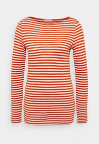 Marc O'Polo - LONG SLEEVE BOAT NECK STRIPED - Long sleeved top - multi/pumpkin orange - 0