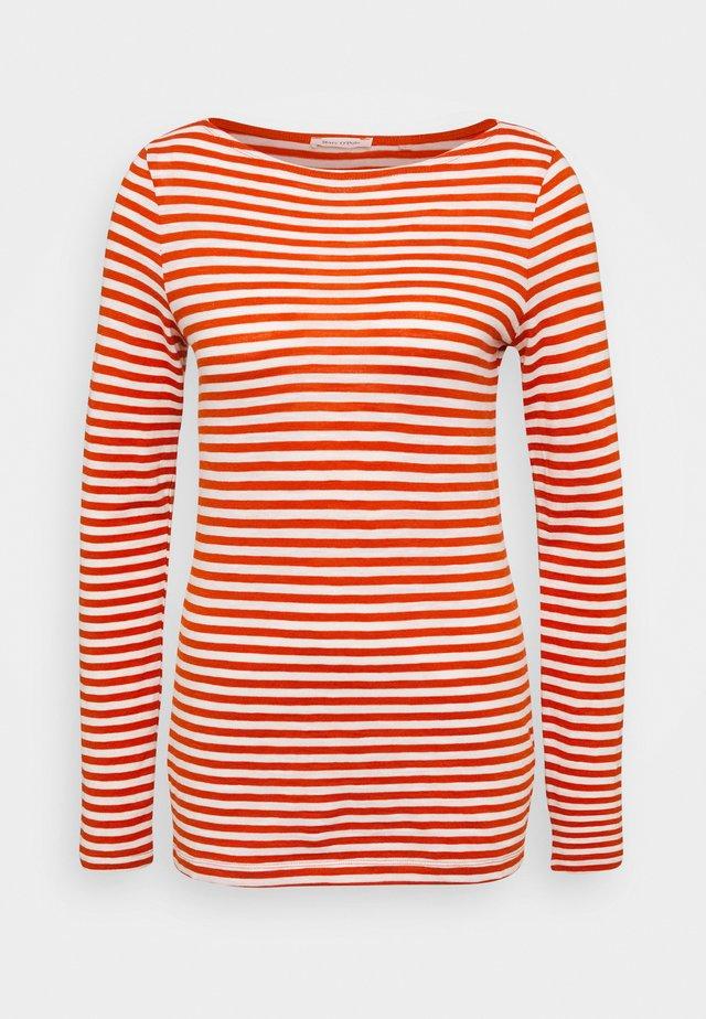 LONG SLEEVE BOAT NECK STRIPED - Topper langermet - multi/pumpkin orange