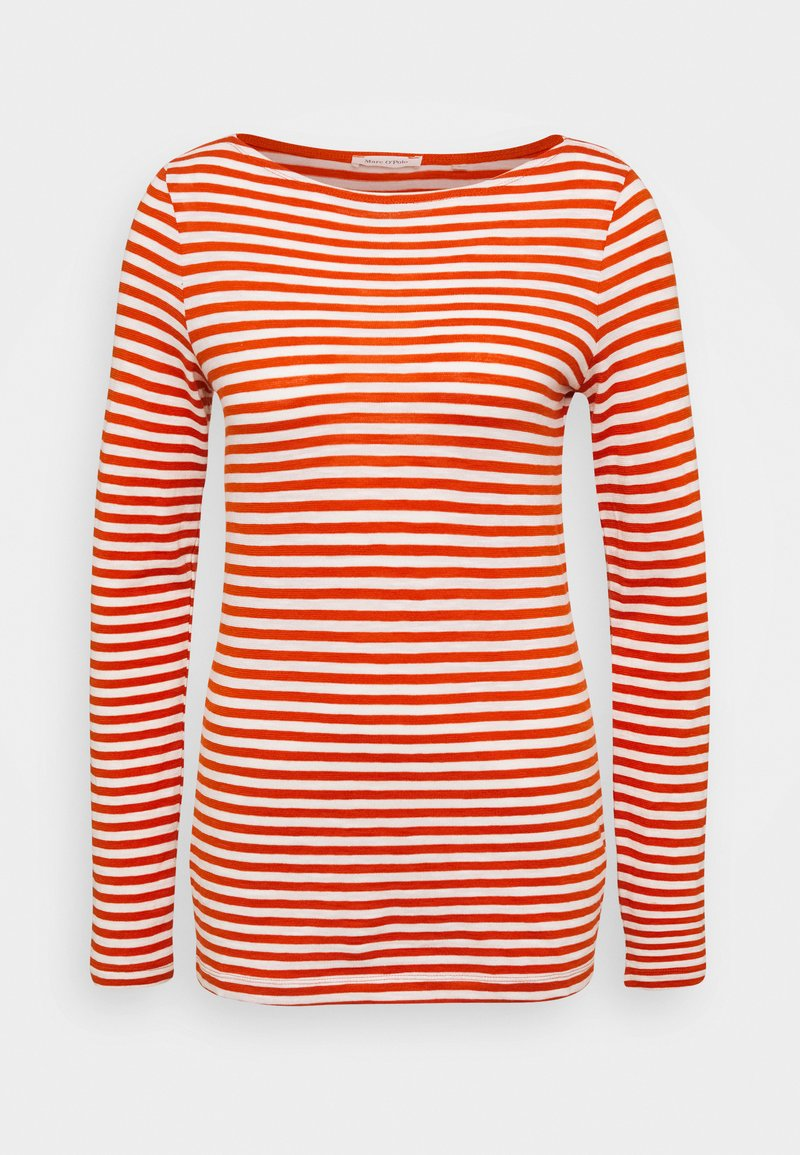 Marc O'Polo - LONG SLEEVE BOAT NECK STRIPED - Long sleeved top - multi/pumpkin orange