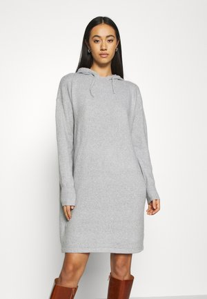 VMDOFFY HOOD DRESS - Strikket kjole - light grey melange