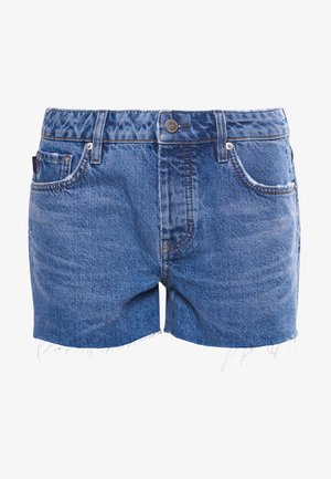 CUT OFF - Denim shorts - mid indigo
