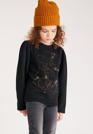MICKEY MOUSE PUFF SLEEVE CREW NECK TOP - Long sleeved top - black
