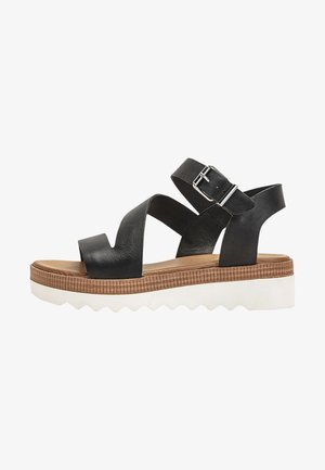 Platform sandals - black-white bwh