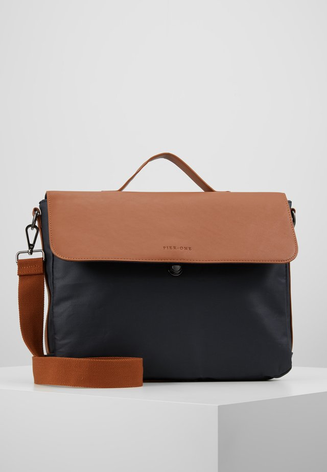 Briefcase - dark blue/cognac