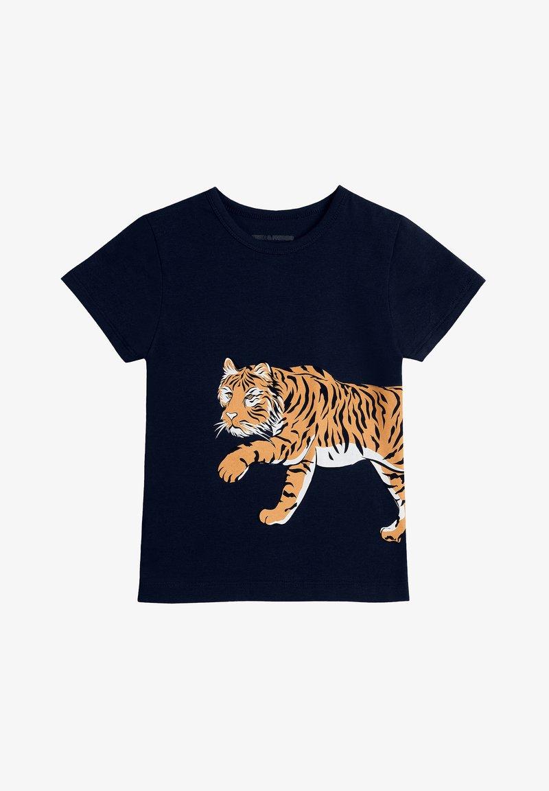 The Striped Cat - TIGER - Print T-shirt - navy
