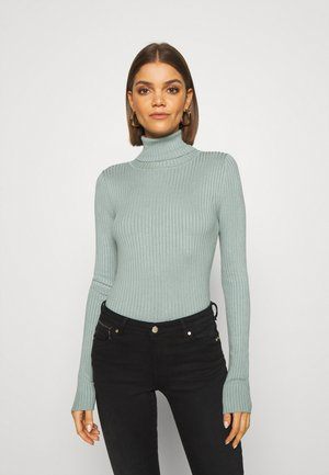 BASIC- RIBBED TURTLE NECK - Strickpullover - light green